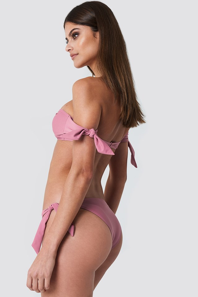 Tied Sleeve Bandeau Top Pink Rose