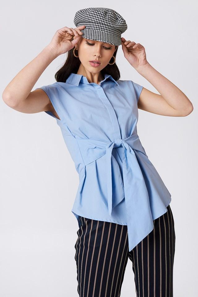 Tied Waist Cap Sleeve Shirt NA-KD Classic