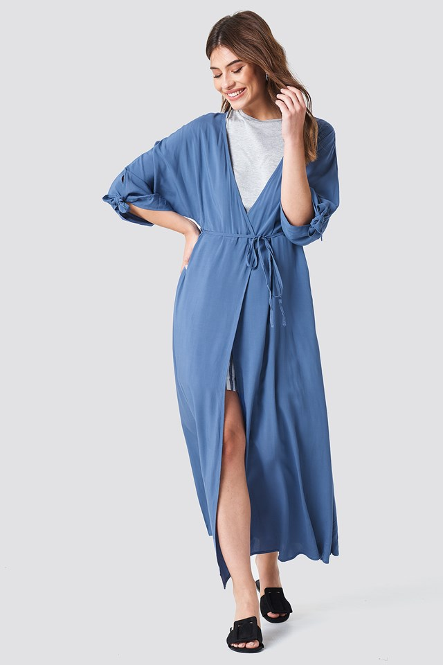 Sukienka z wiązanym rękawem Dusty Blue