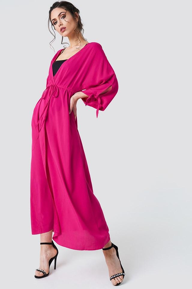 Tied Sleeve Coat Dress Raspberry