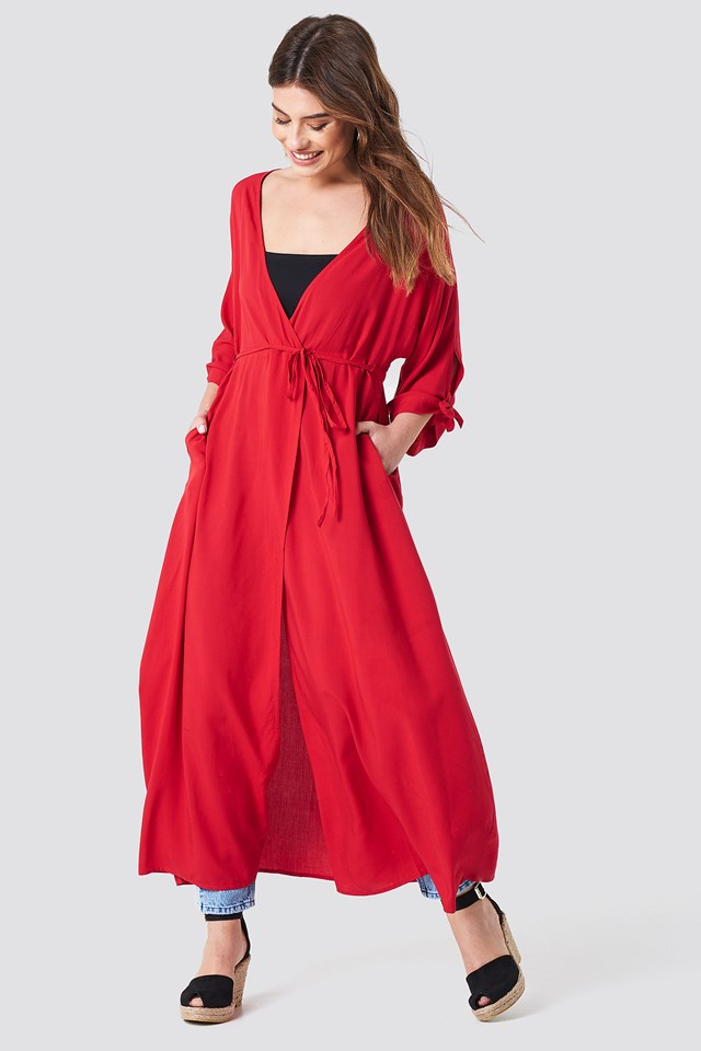 Tied Sleeve Coat Dress Cherry