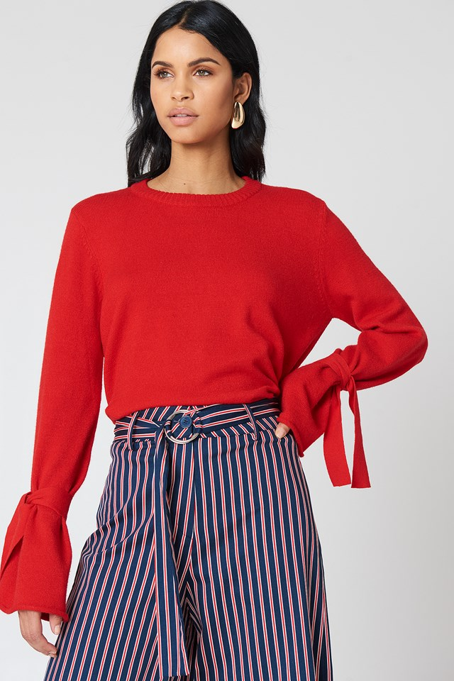 Tied Sleeve Knitted Sweater Red
