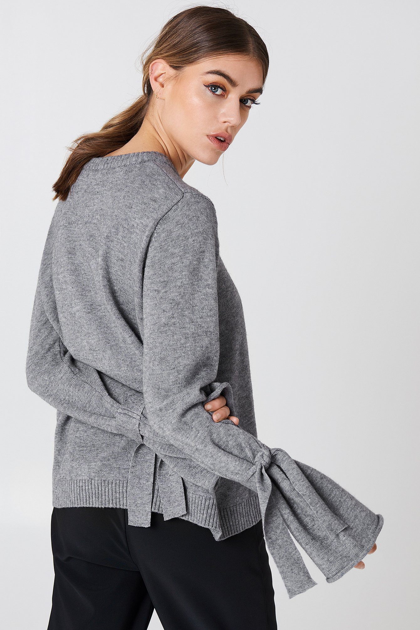Tied Sleeve Knitted Sweater Grey Na Kdcom