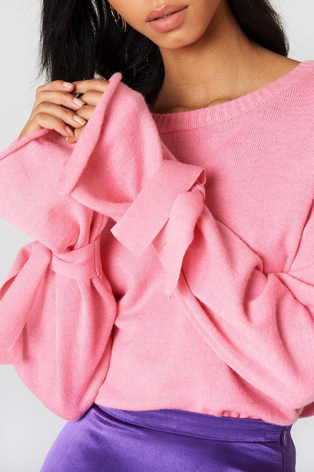 Tied Sleeve Knitted Sweater Light Pink