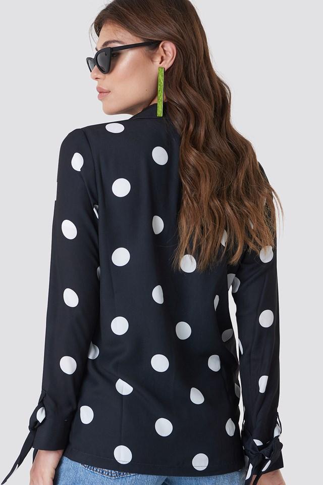 Tied Sleeve Printed Blazer Black/White dots