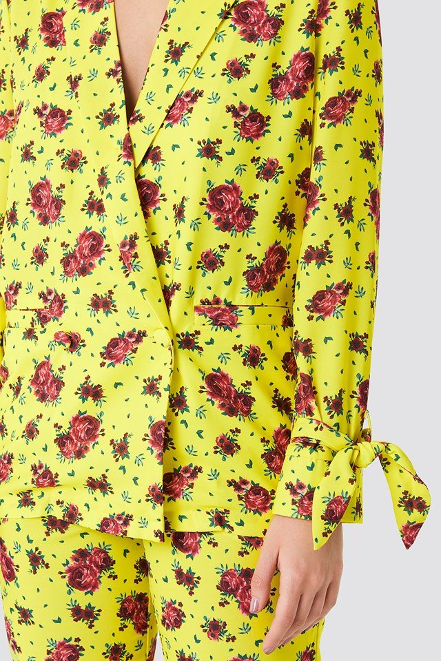 Tied Sleeve Printed Blazer Yellow Flower