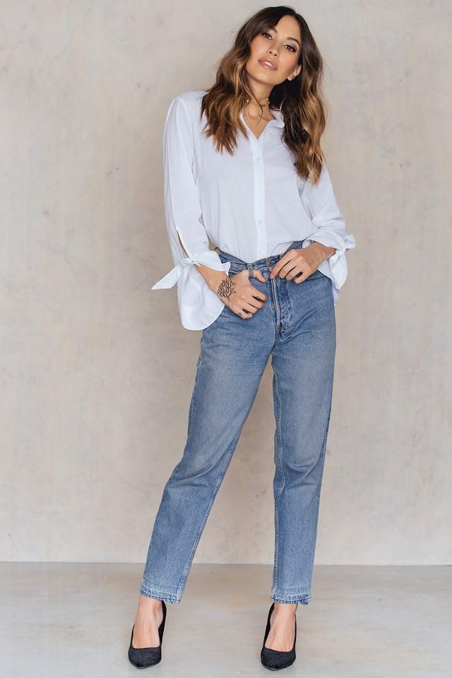 Tied Sleeve Shirt White