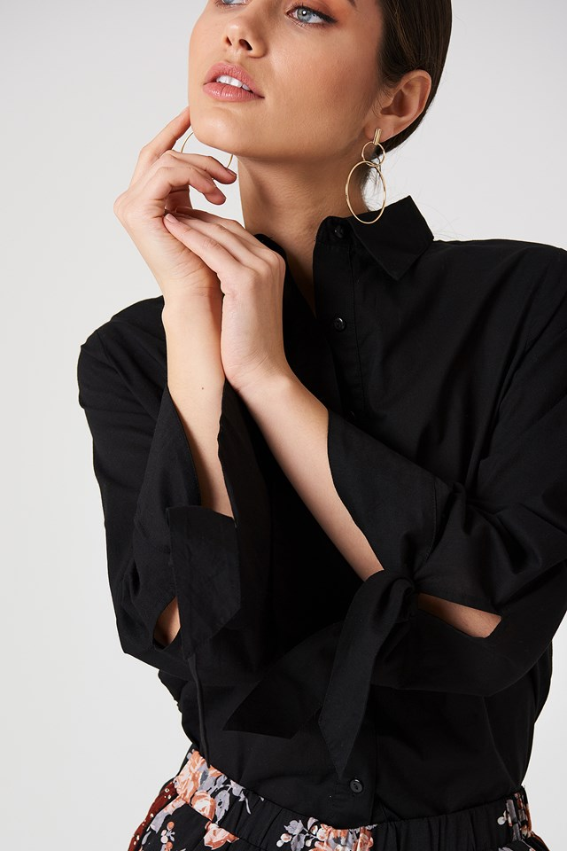 Tied Sleeve Shirt Black