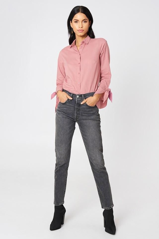 Tied Sleeve Shirt Light Dusty Pink