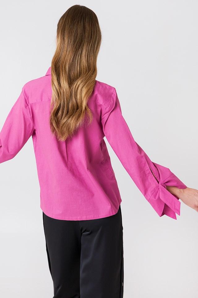 Tied Sleeve Shirt Purple Rose