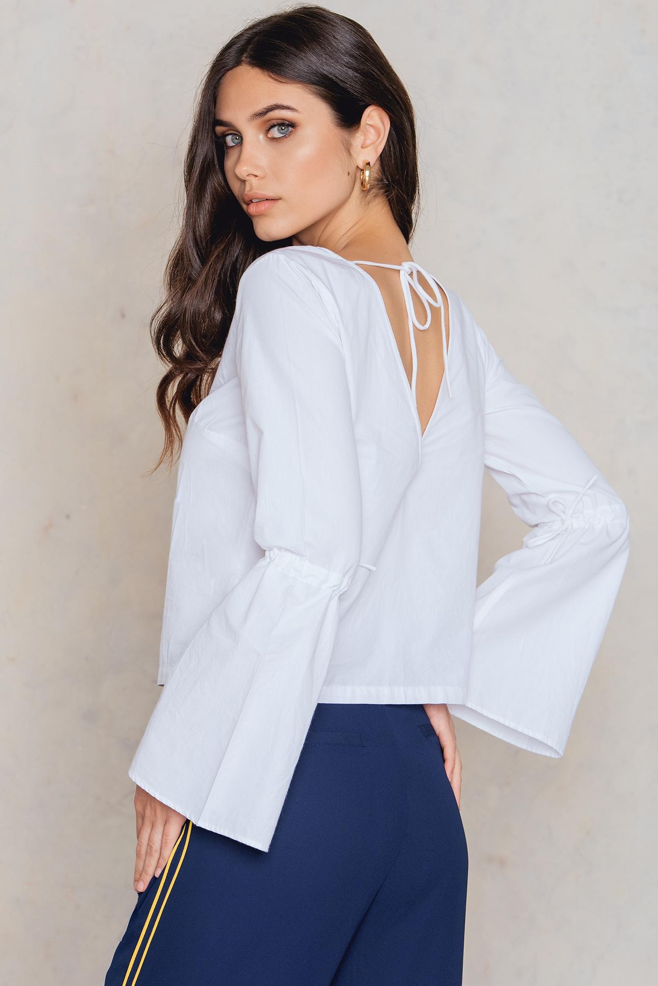 na-kd boho -  Tied Sleeve Top - White