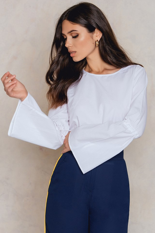 Tied Sleeve Top White
