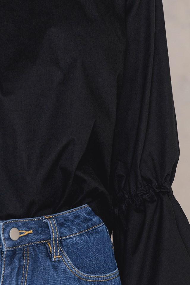 Tied Sleeve Top Black