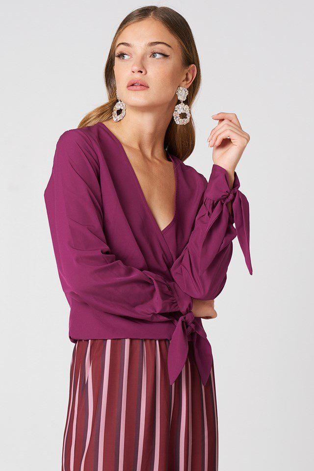 Tied Sleeve Wrap Over Top Burgundy