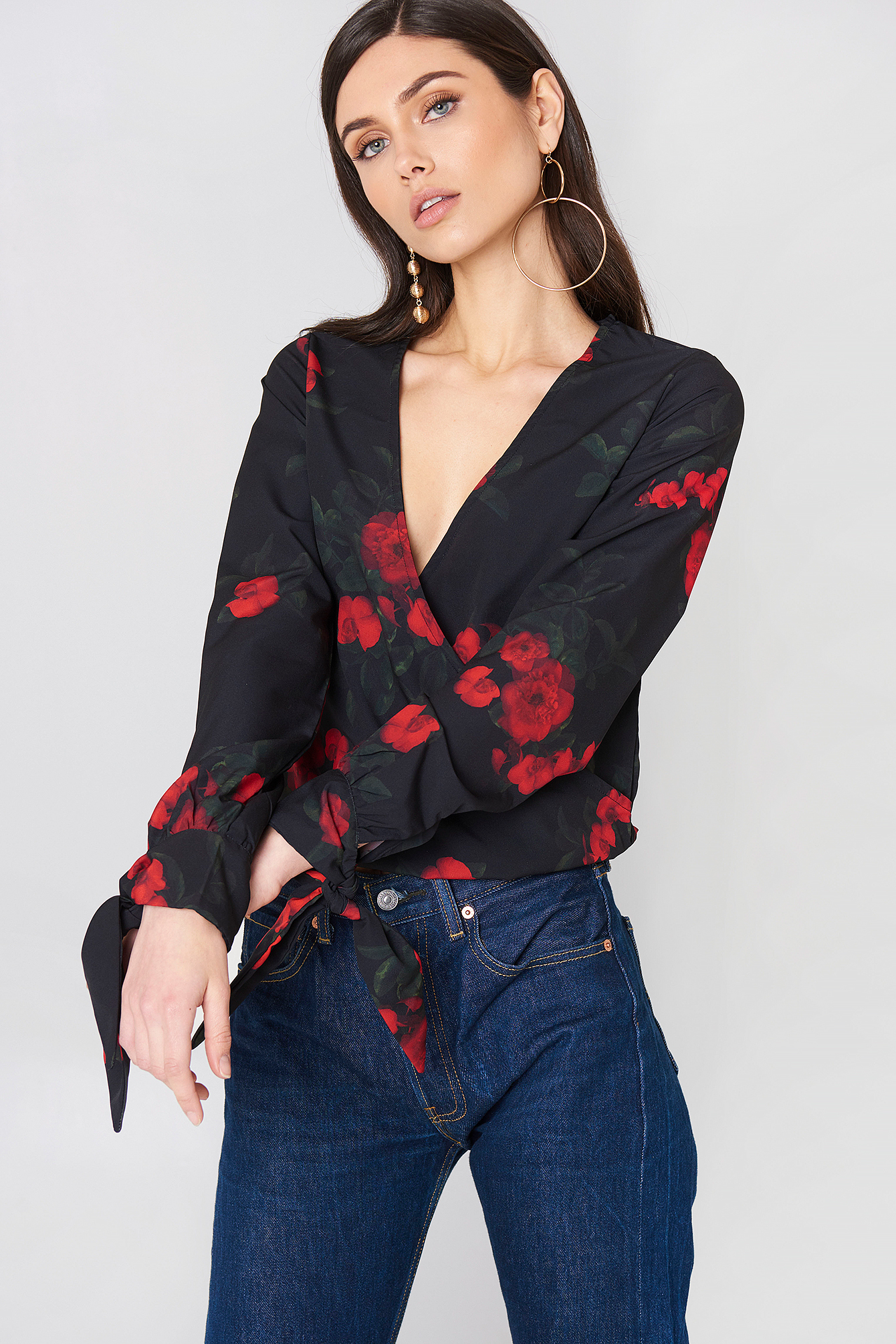 Tied Sleeve Wrap Over Top