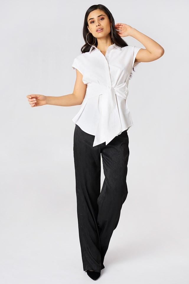 Tied Waist Cap Sleeve Shirt White