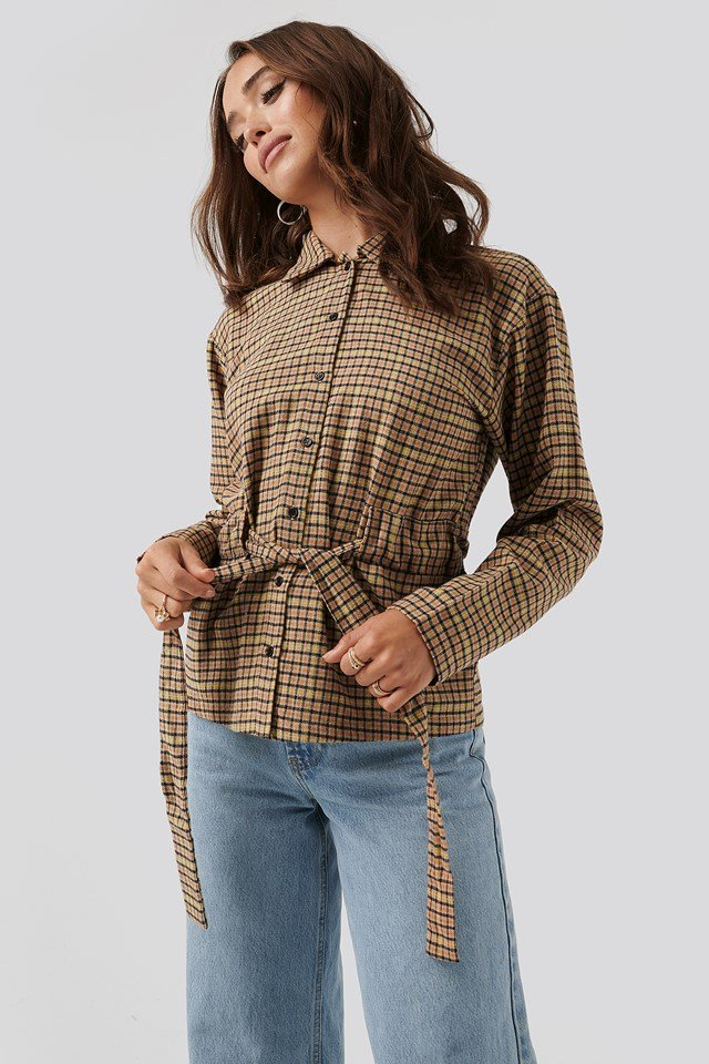 Tied Waist Checked Shirt Brown