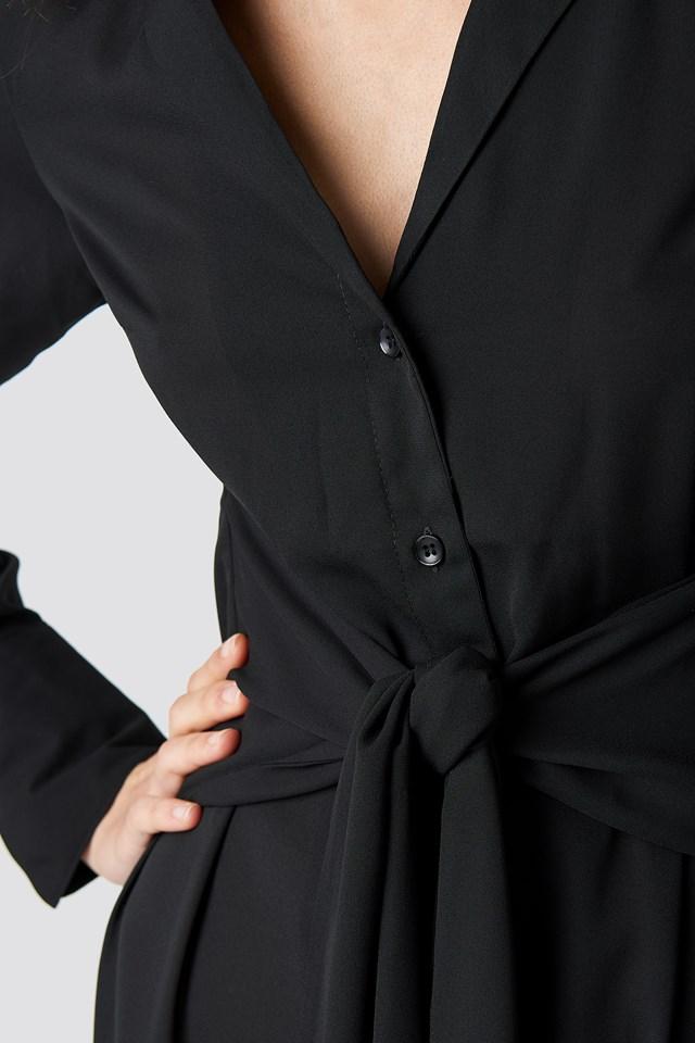 Tied Waist Dress Black