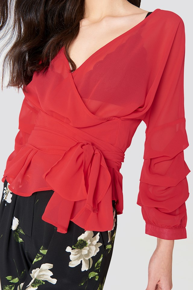 Tied Waist Gathered Sleeve Blouse Red