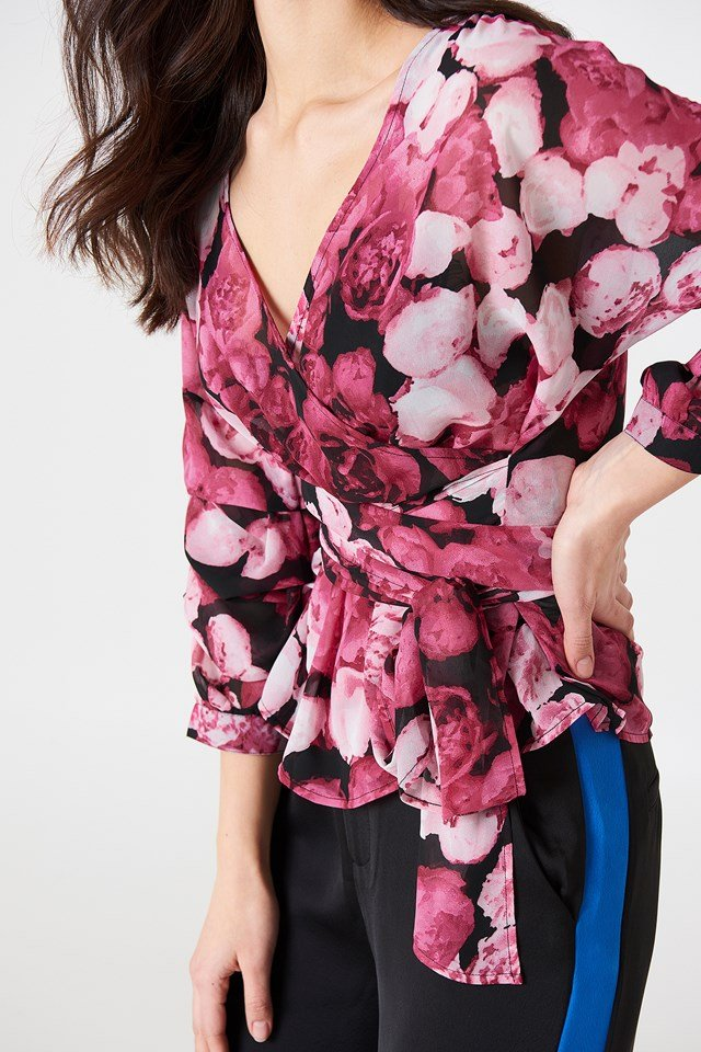 Tied Waist Gathered Sleeve Blouse Pink Flower
