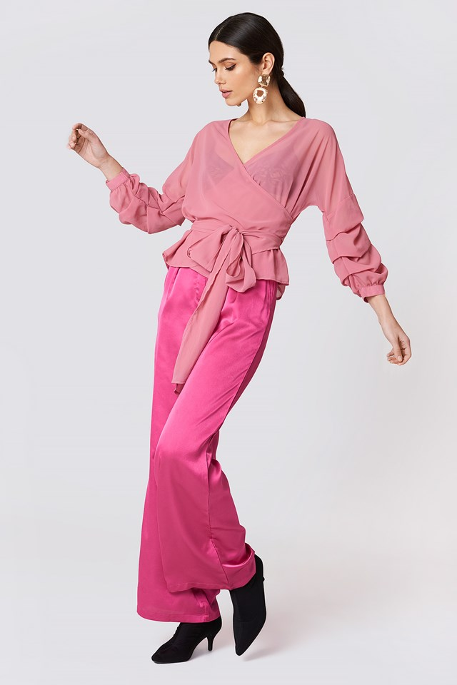 Tied Waist Gathered Sleeve Blouse Pink Rose