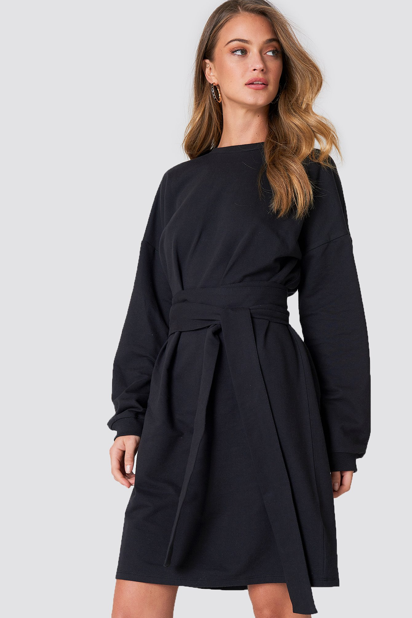 Black Tied Waist Oversize Dress