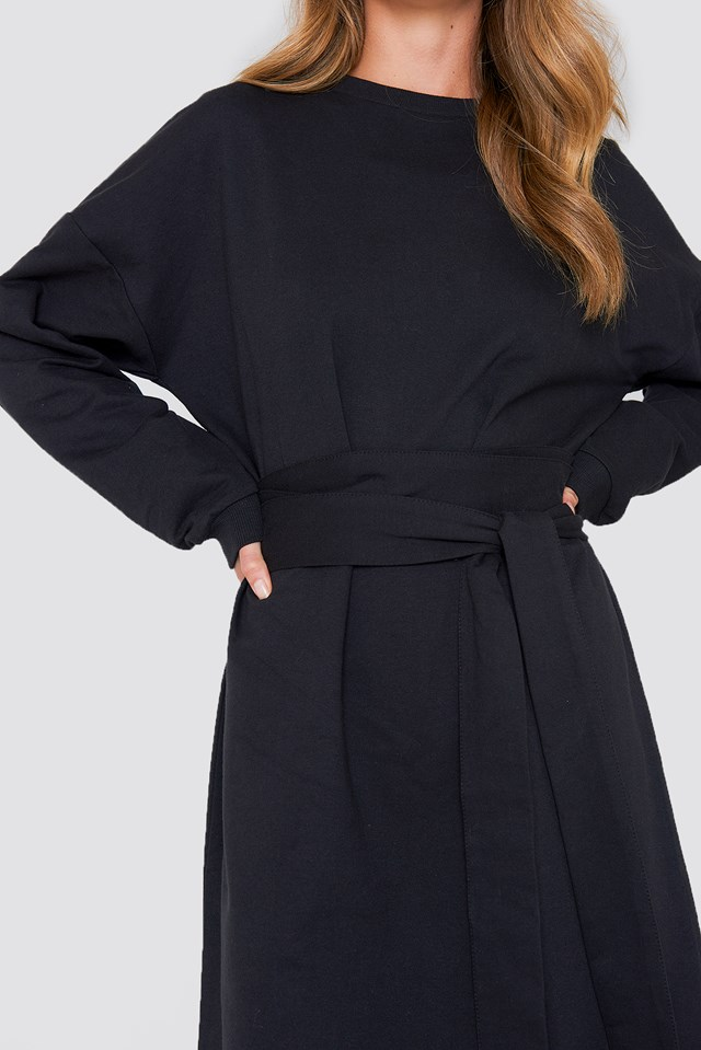 Tied Waist Oversize Dress Black