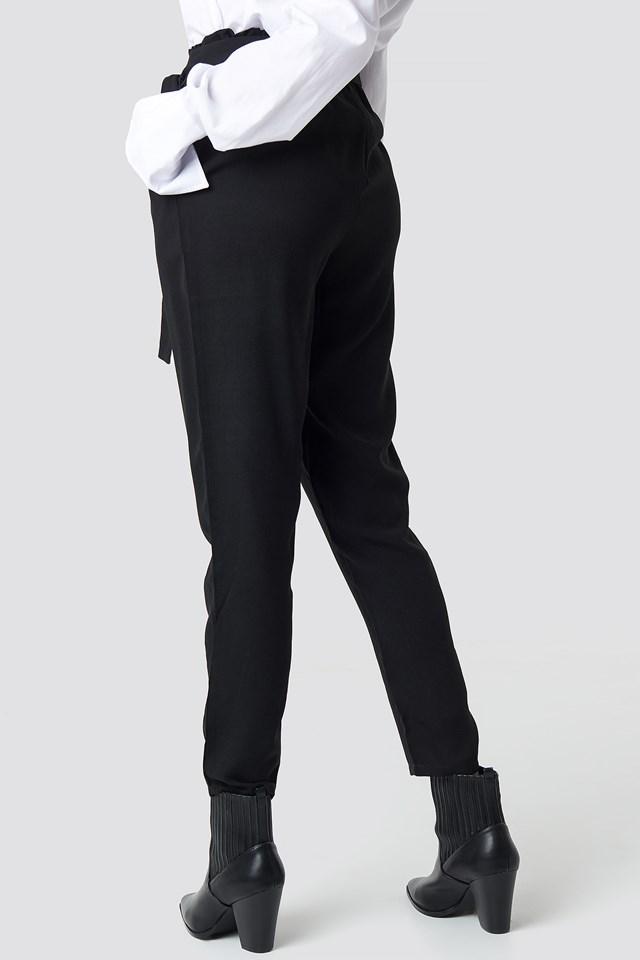 Tied Waist Pants Black
