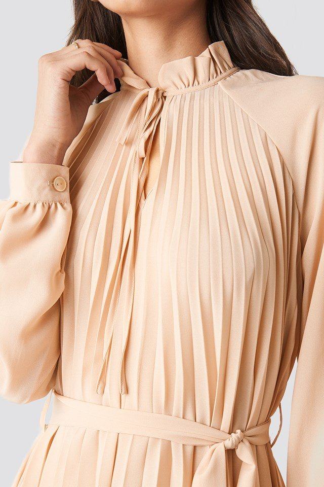 Tied Waist Pleated Skirt Dress Light Beige