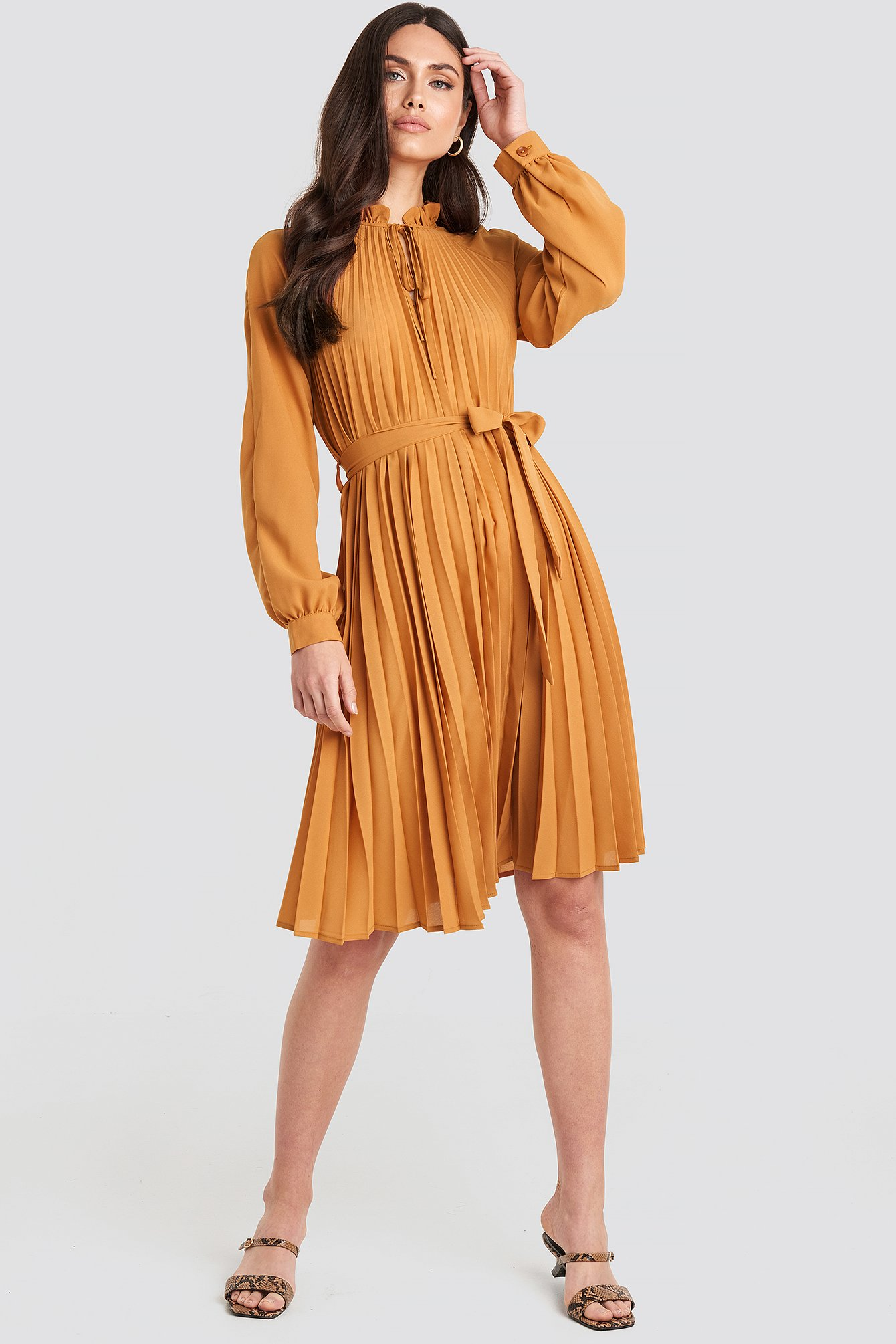 Tied Waist Pleated Skirt Dress Orange by Na Kd Trend