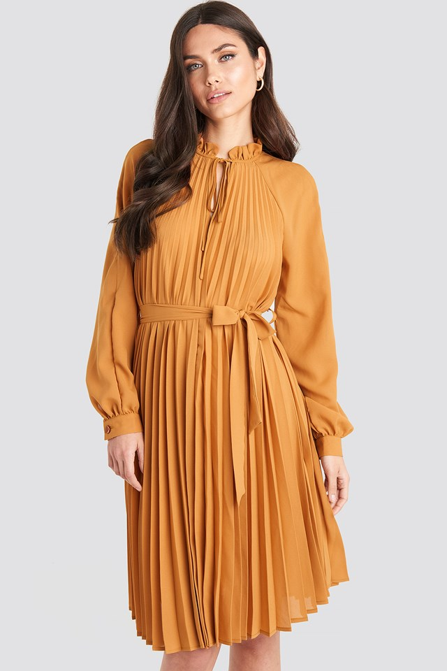 Tied Waist Pleated Skirt Dress Rust