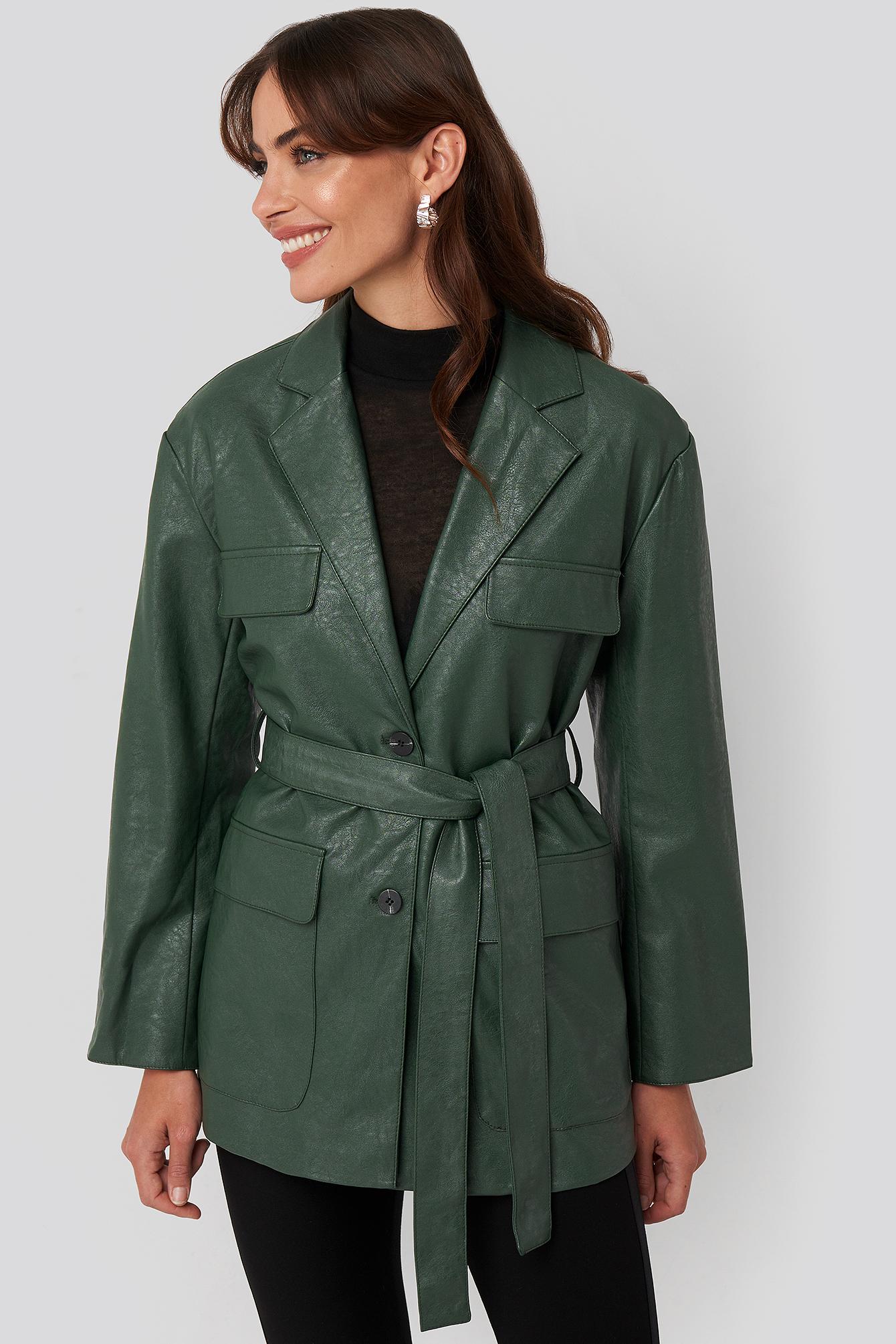 na-kd trend -  Tied Waist Pu Jacket - Green