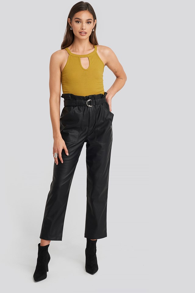 Tied Waist Pu Pants Black