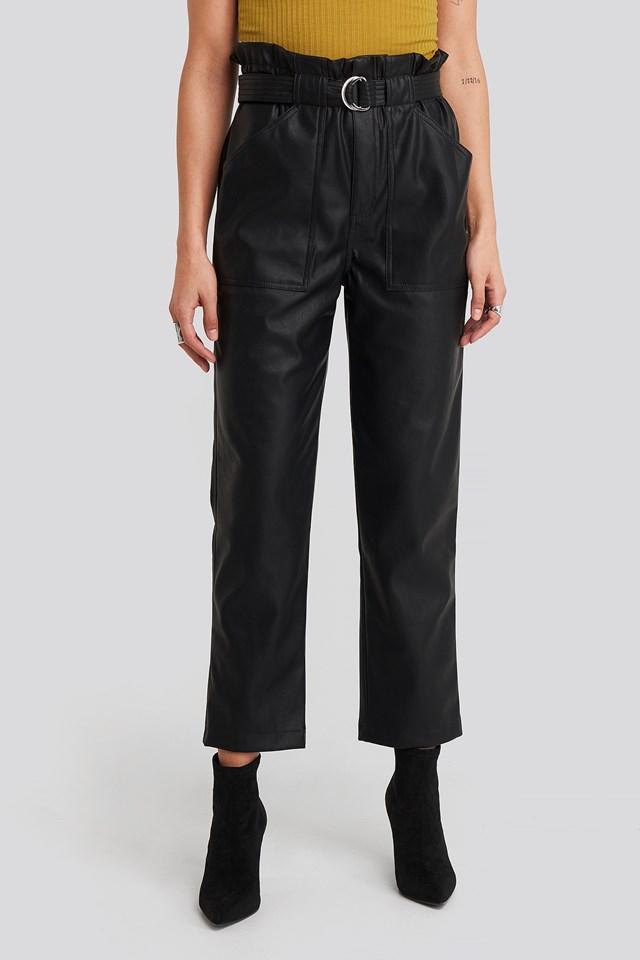 Tied Waist Pu Pants Black