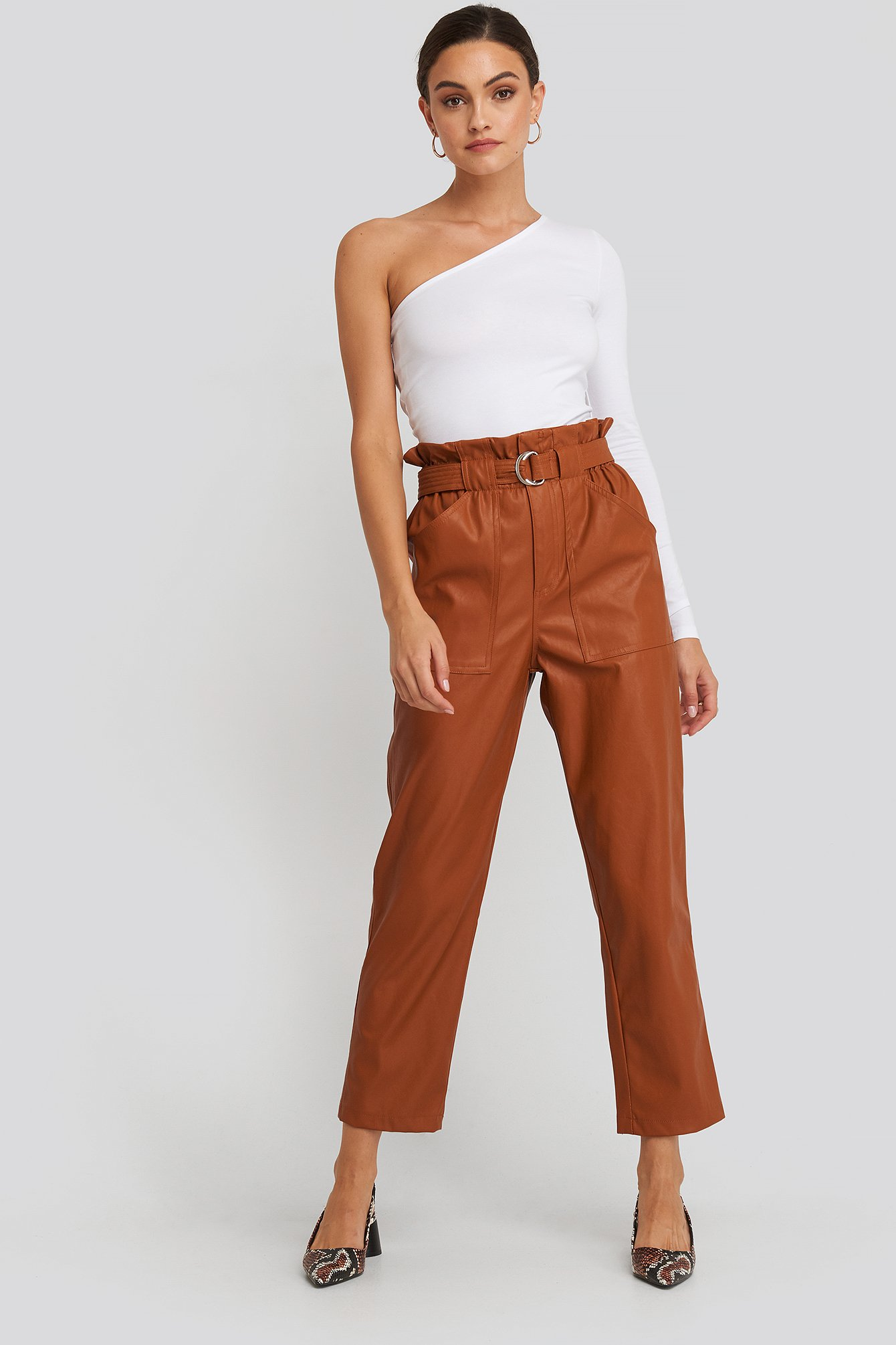Tied Waist Pu Pants Brun by Na Kd Trend