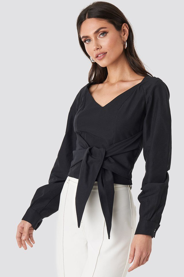 Tied Waist Puff Sleeve Blouse Black