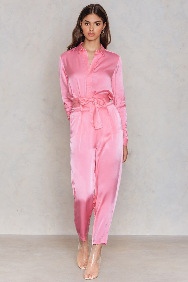 Tied Waist Satin Pants Pink