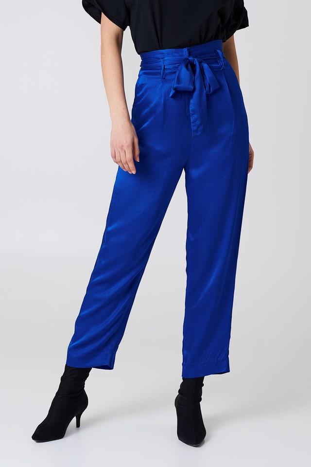 Tied Waist Satin Pants Cobalt