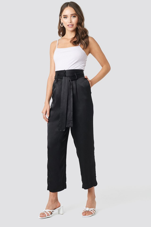 Tied Waist Satin Pants NA-KD Party
