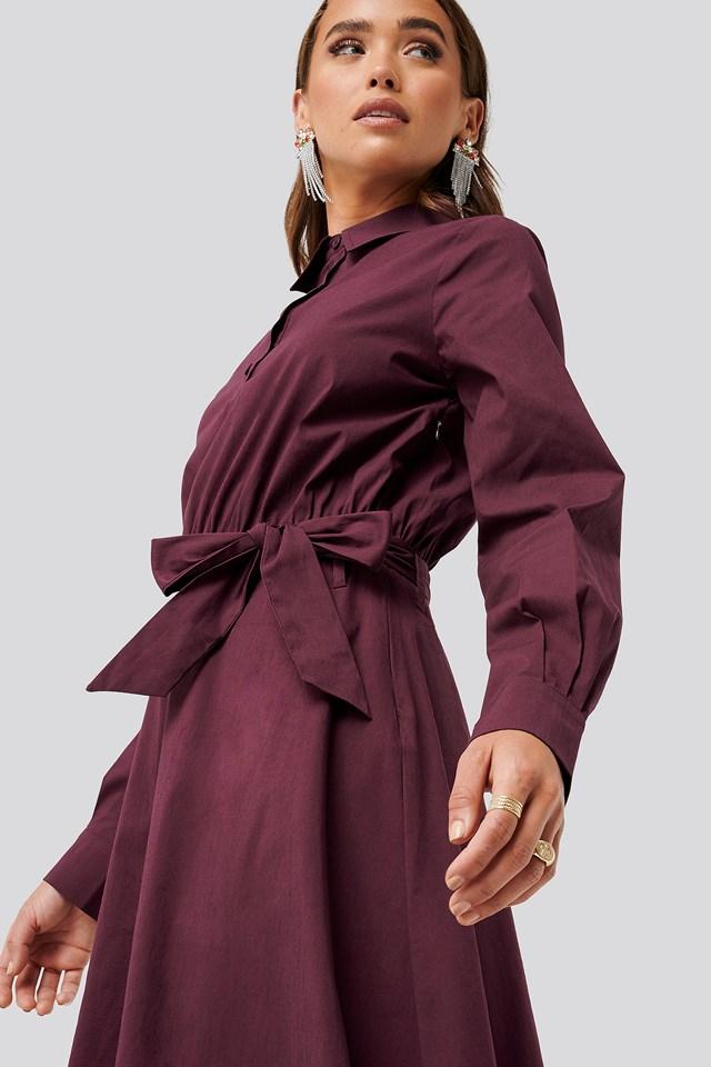 Tied Waist Shirt Dress Burgundy