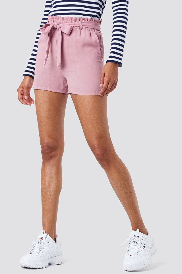 Tied Waist Shorts Dusty Pink