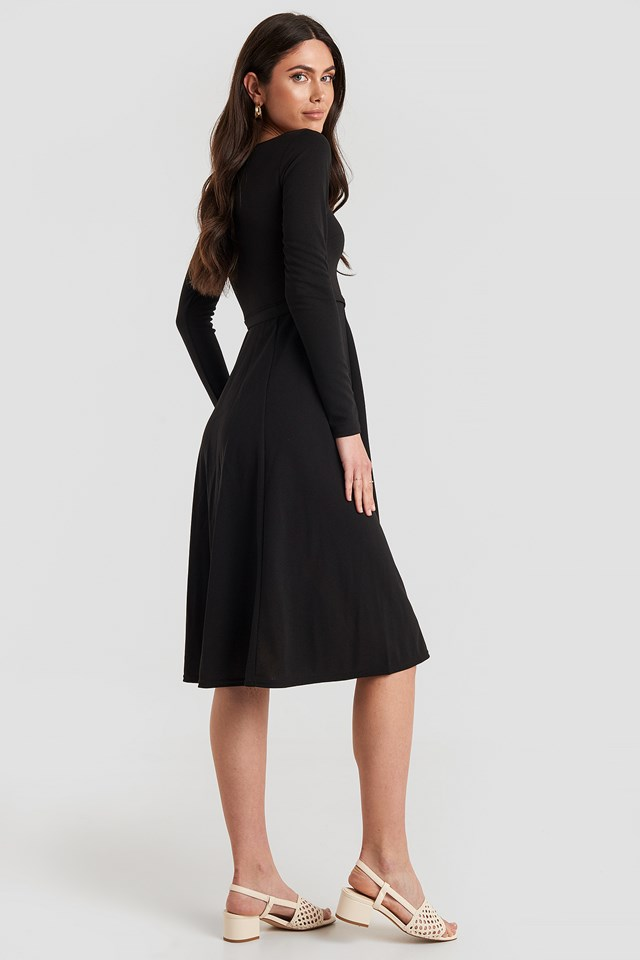 Tied Waist Square Neck Dress Black