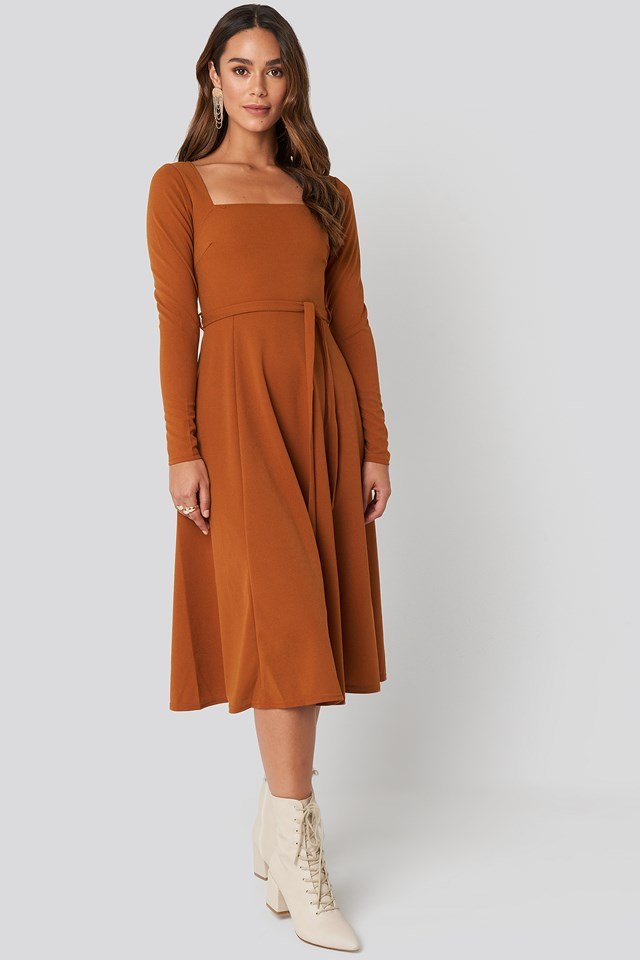 Tied Waist Square Neck Dress Rust