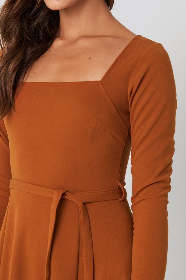 Tied Waist Square Neck Dress Rust