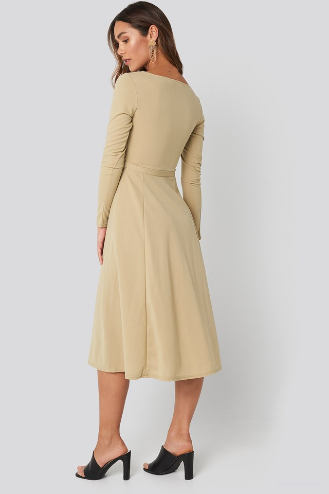 Tied Waist Square Neck Dress Dusty Light Green