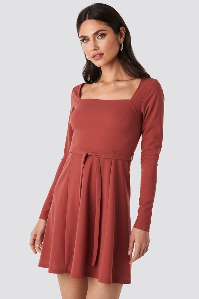 Tied Waist Square Neck Mini Dress Purple Rose