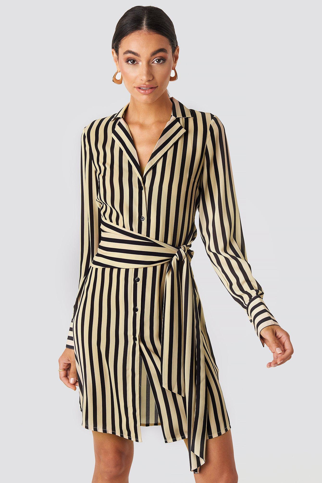 Tied Waist Striped Dress Beige by Nakdclassic