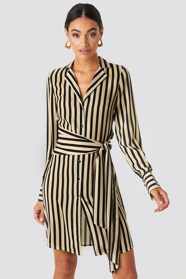 Tied Waist Striped Dress Black/Beige