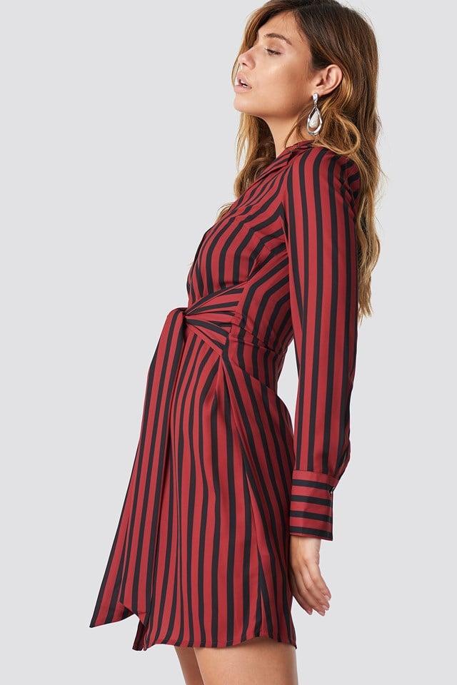 Tied Waist Striped Dress Black/Red