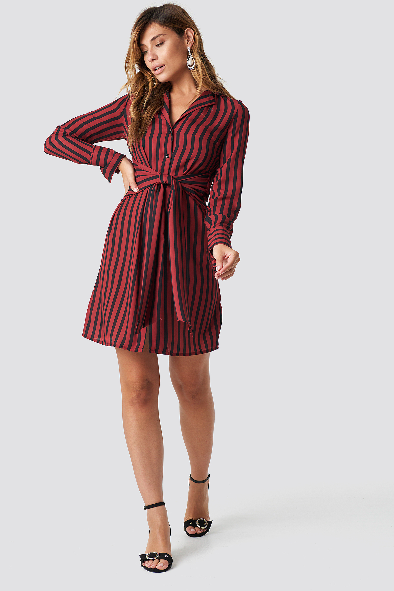 Tied Waist Striped Dress NA-KD.COM